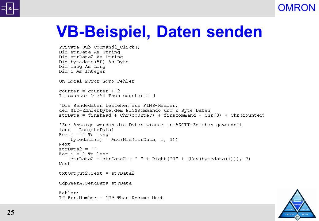 VB-Beispiel, Daten senden