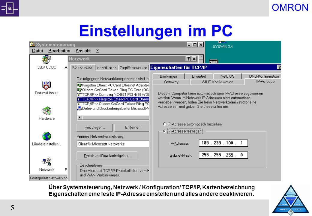 Einstellungen im PC Über Systemsteuerung, Netzwerk / Konfiguration/ TCP/IP, Kartenbezeichnung.