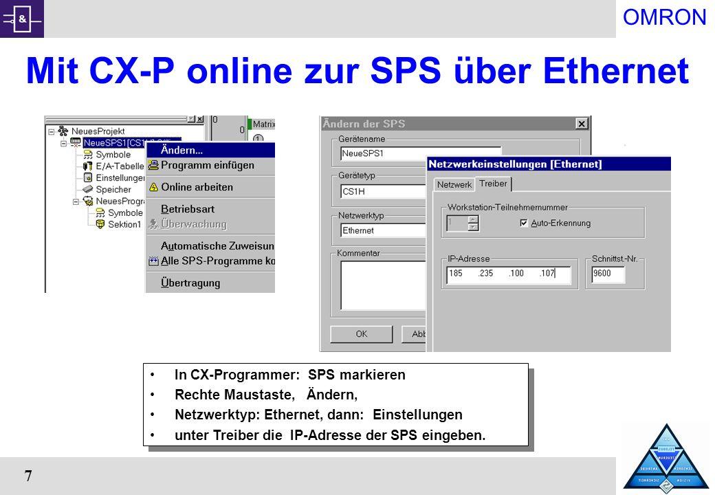 Mit CX-P online zur SPS über Ethernet