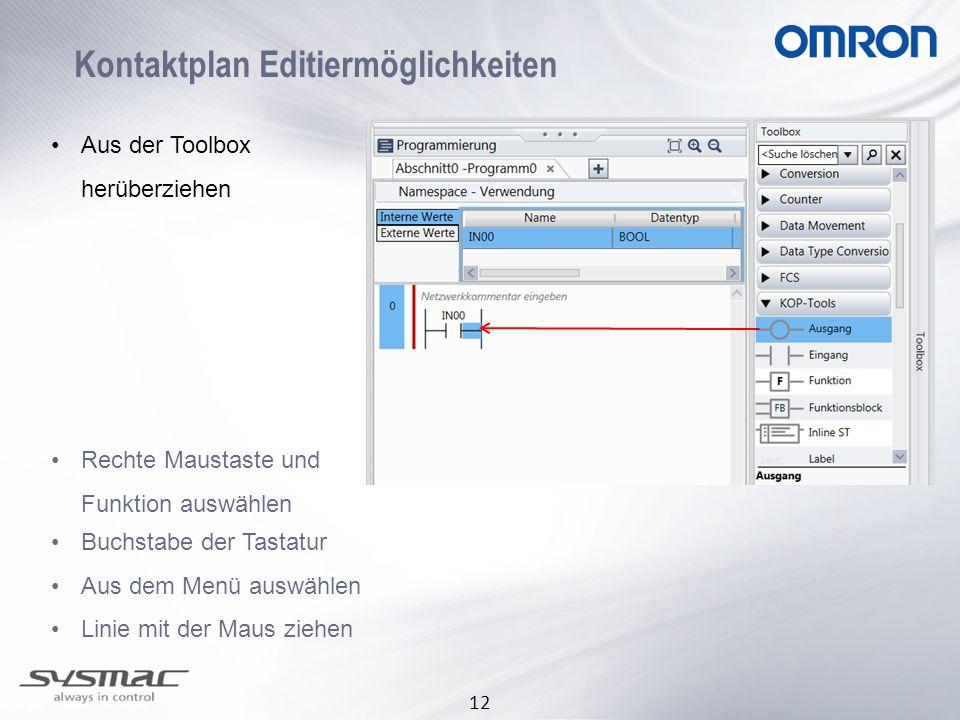 Kontaktplan Editiermöglichkeiten