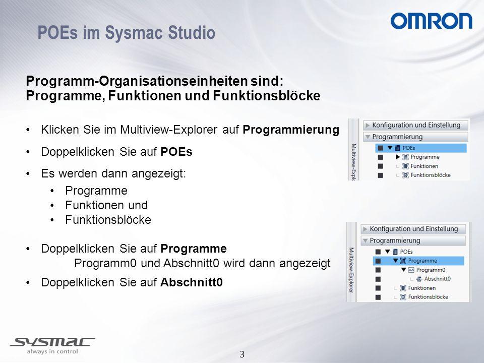 POEs im Sysmac Studio Programm-Organisationseinheiten sind: