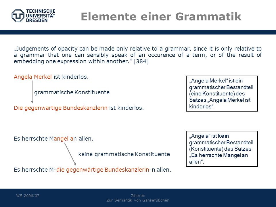 Elemente einer Grammatik