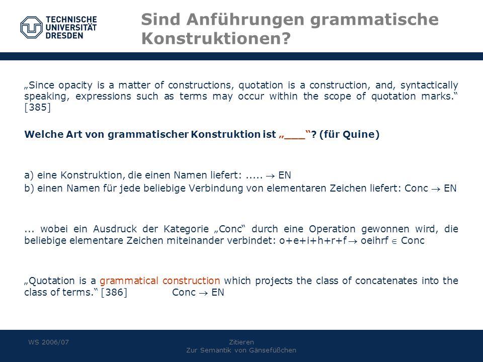 Sind Anführungen grammatische Konstruktionen