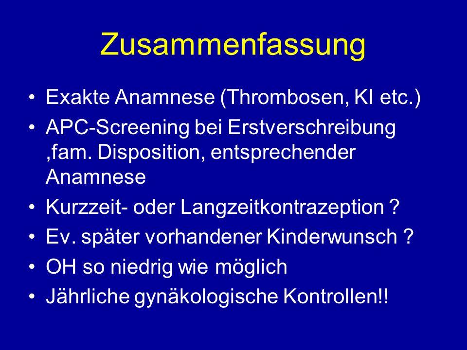 Zusammenfassung Exakte Anamnese (Thrombosen, KI etc.)