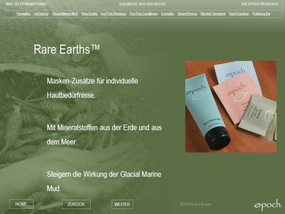 Rare Earths™ Masken-Zusätze für individuelle Hautbedürfnisse.