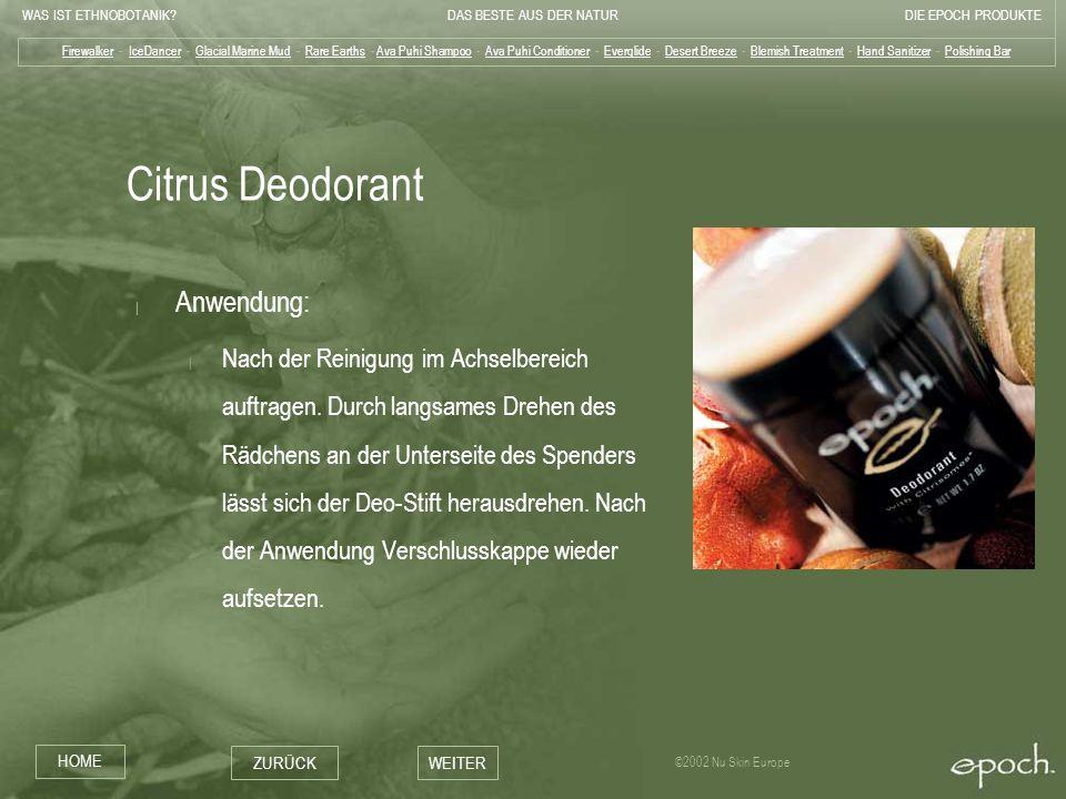Citrus Deodorant Anwendung: