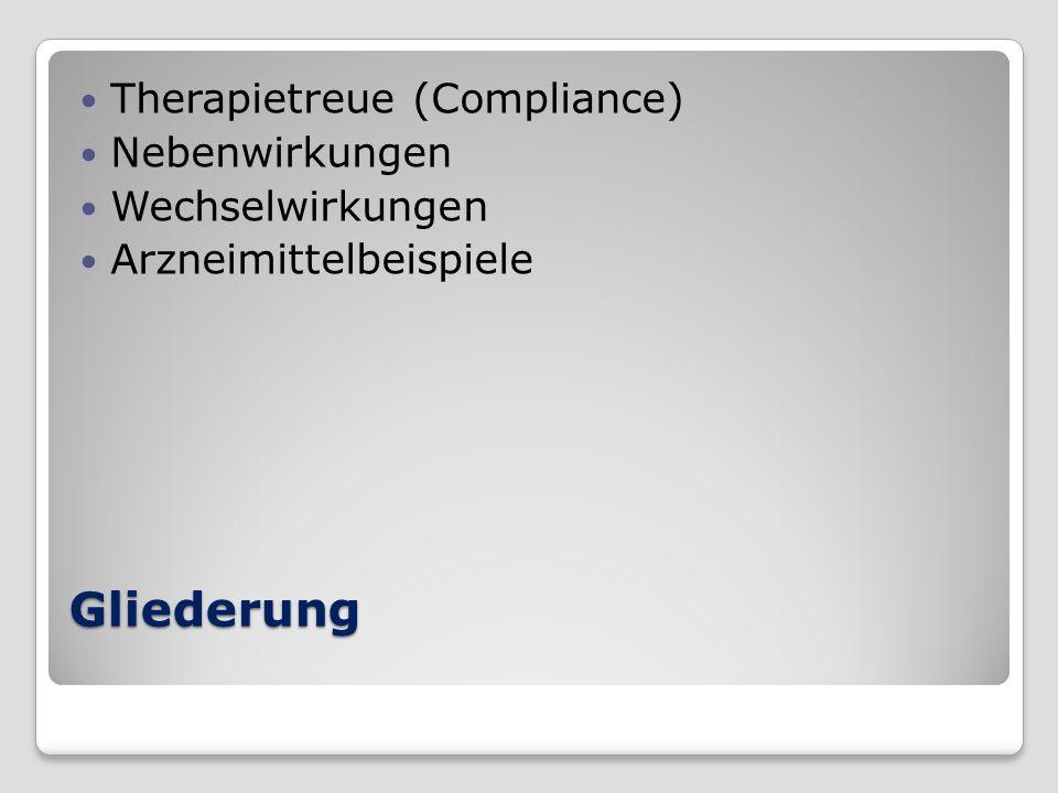Gliederung Therapietreue (Compliance) Nebenwirkungen Wechselwirkungen