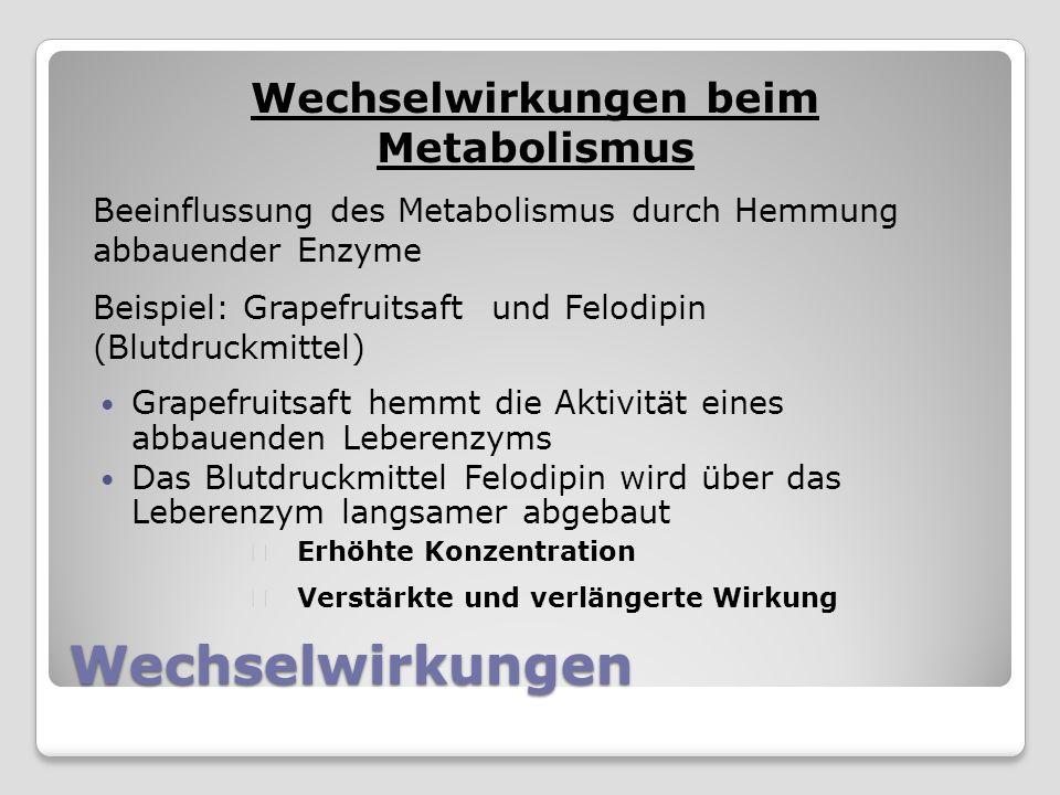 Wechselwirkungen beim Metabolismus