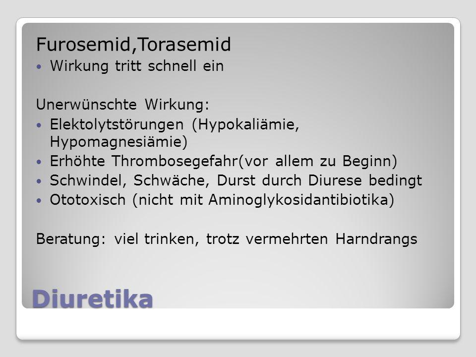 Diuretika Furosemid,Torasemid Wirkung tritt schnell ein