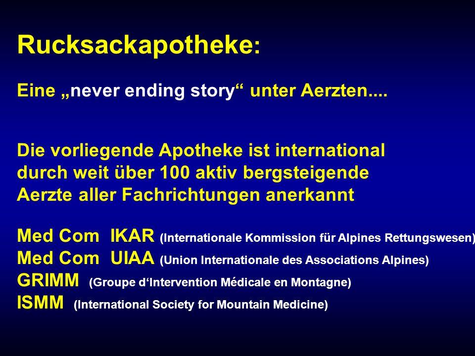 "Rucksackapotheke: Eine ""never ending story unter Aerzten...."