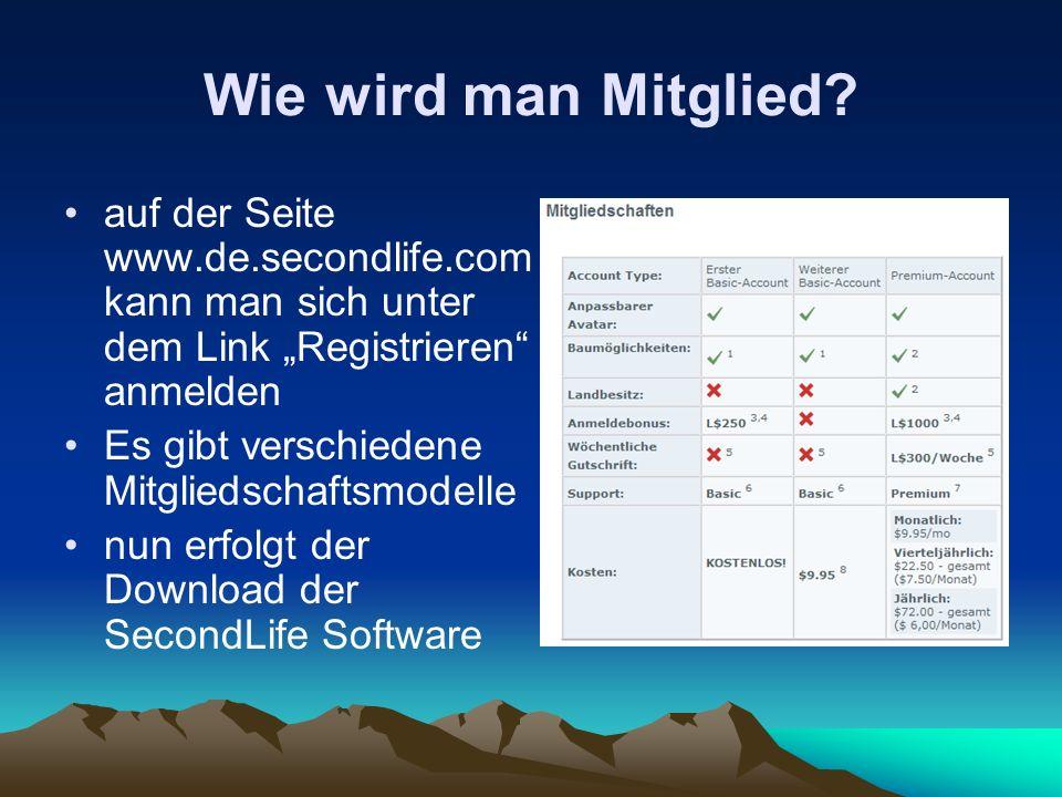"""Wie wird man Mitglied auf der Seite www.de.secondlife.com kann man sich unter dem Link """"Registrieren anmelden."""