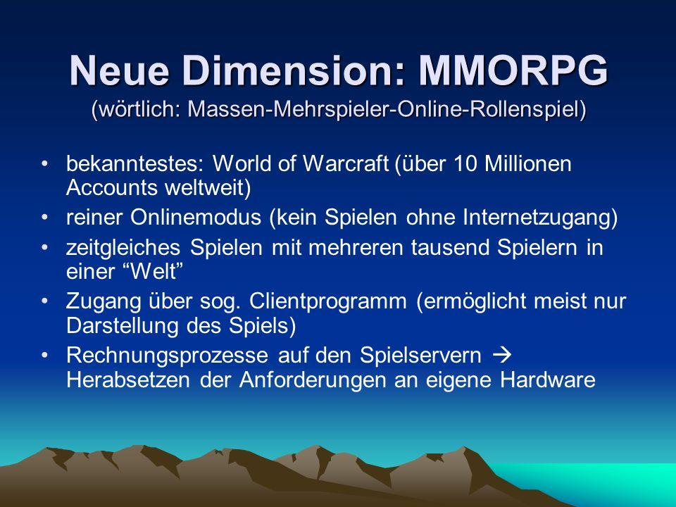 Neue Dimension: MMORPG (wörtlich: Massen-Mehrspieler-Online-Rollenspiel)