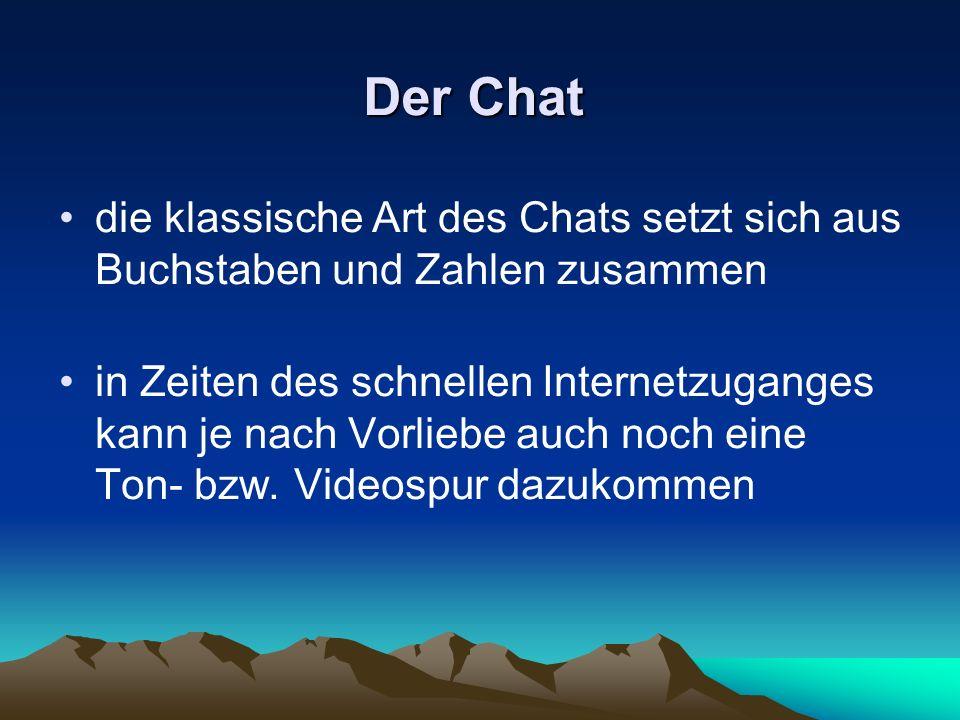 Der Chat die klassische Art des Chats setzt sich aus Buchstaben und Zahlen zusammen.