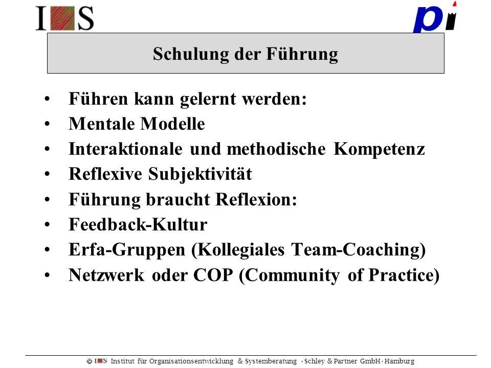Schulung der Führung Führen kann gelernt werden: Mentale Modelle. Interaktionale und methodische Kompetenz.