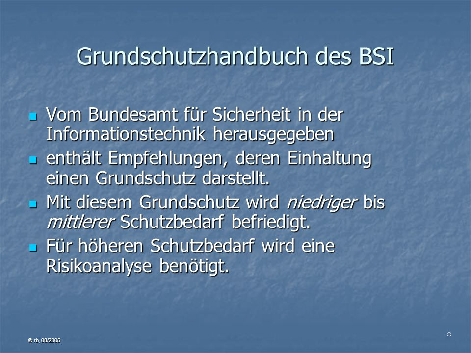 Grundschutzhandbuch des BSI