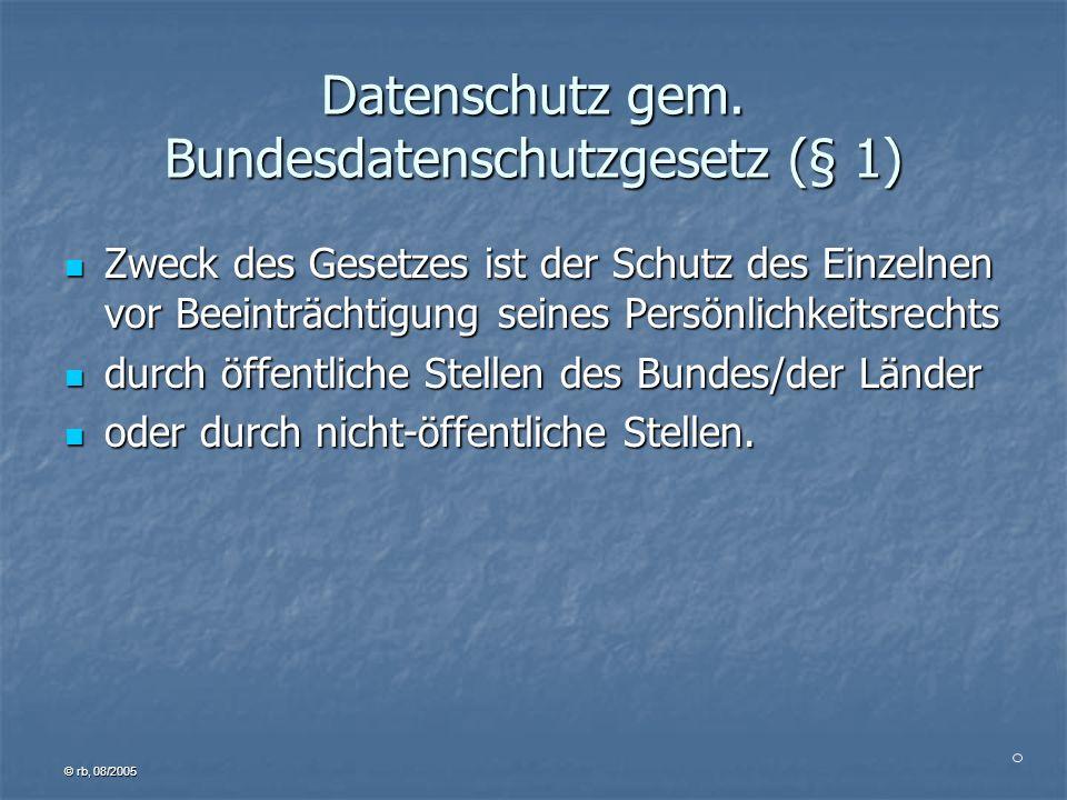 Datenschutz gem. Bundesdatenschutzgesetz (§ 1)
