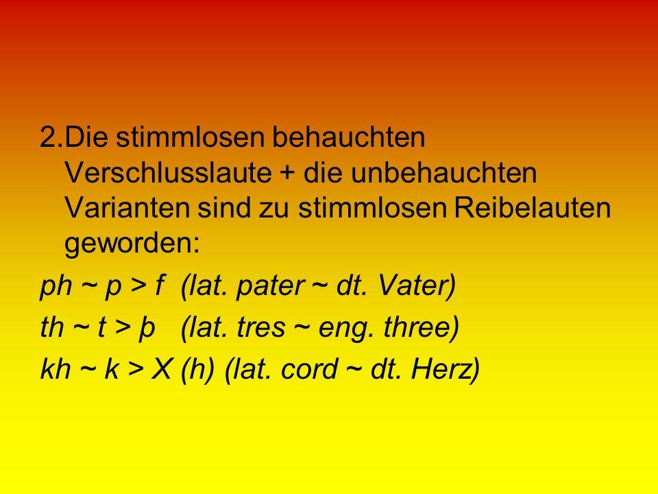 2.Die stimmlosen behauchten Verschlusslaute + die unbehauchten Varianten sind zu stimmlosen Reibelauten geworden: