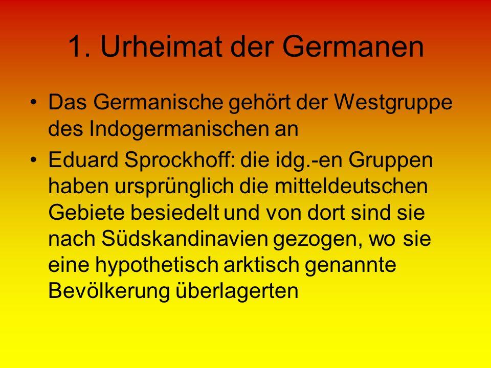 1. Urheimat der Germanen Das Germanische gehört der Westgruppe des Indogermanischen an.