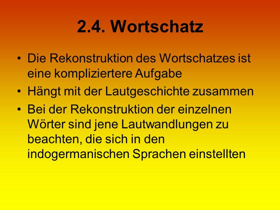 2.4. Wortschatz Die Rekonstruktion des Wortschatzes ist eine kompliziertere Aufgabe. Hängt mit der Lautgeschichte zusammen.