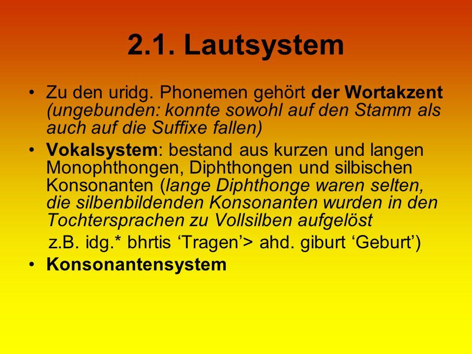 2.1. Lautsystem Zu den uridg. Phonemen gehört der Wortakzent (ungebunden: konnte sowohl auf den Stamm als auch auf die Suffixe fallen)