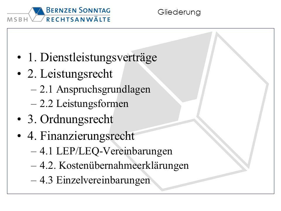 1. Dienstleistungsverträge 2. Leistungsrecht