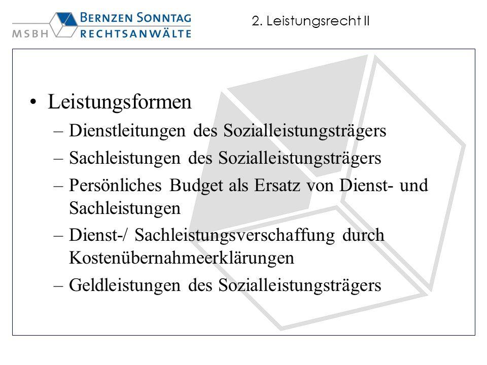 Leistungsformen Dienstleitungen des Sozialleistungsträgers