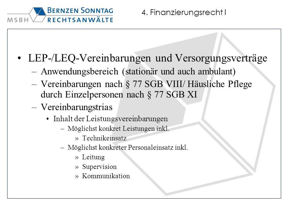 LEP-/LEQ-Vereinbarungen und Versorgungsverträge