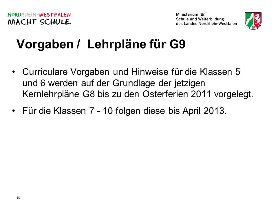 Vorgaben / Lehrpläne für G9