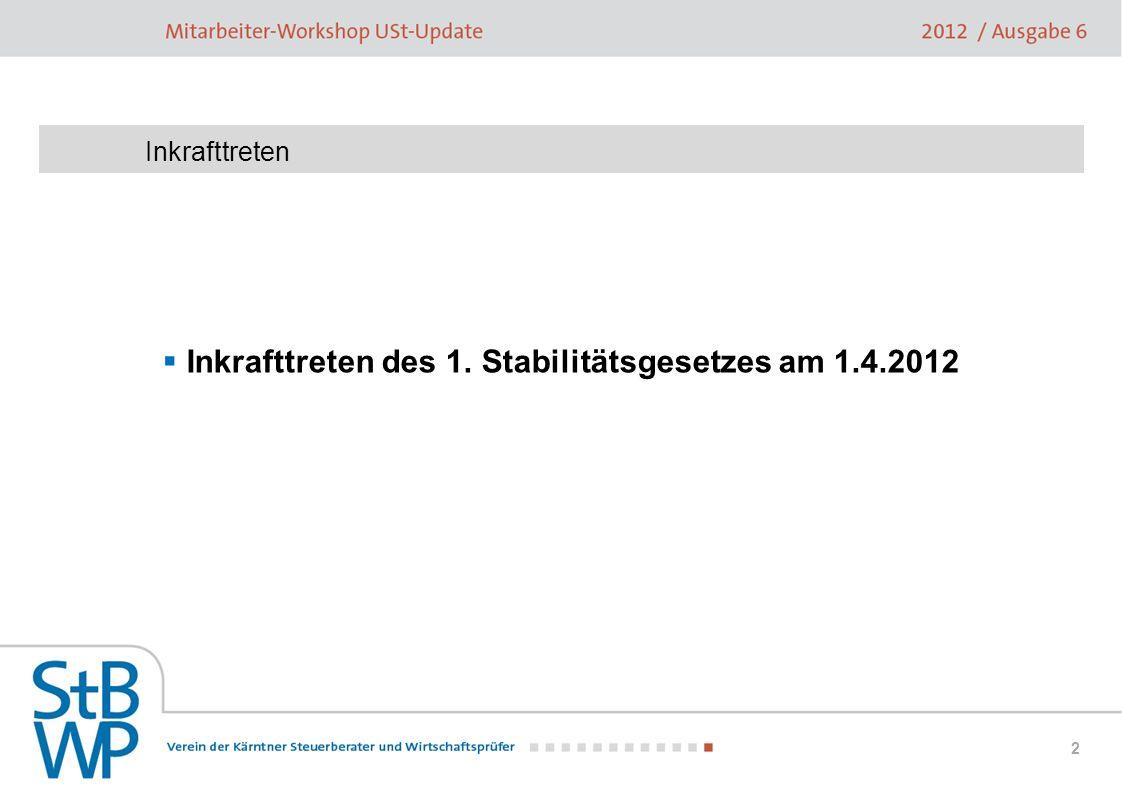 Inkrafttreten des 1. Stabilitätsgesetzes am 1.4.2012