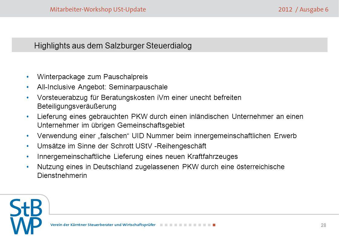 Highlights aus dem Salzburger Steuerdialog