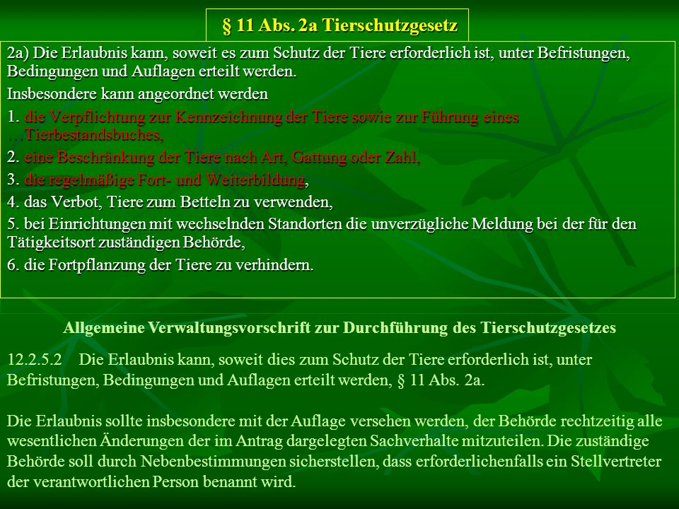 § 11 Abs. 2a Tierschutzgesetz