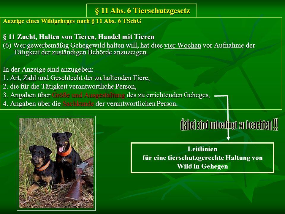 § 11 Abs. 6 Tierschutzgesetz