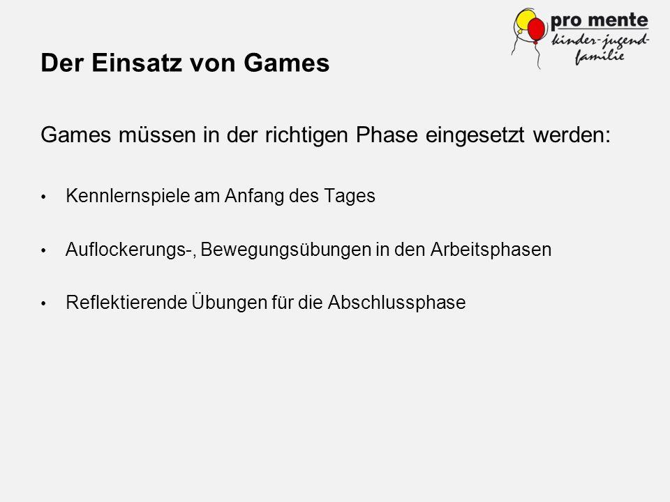 Der Einsatz von Games Games müssen in der richtigen Phase eingesetzt werden: Kennlernspiele am Anfang des Tages.