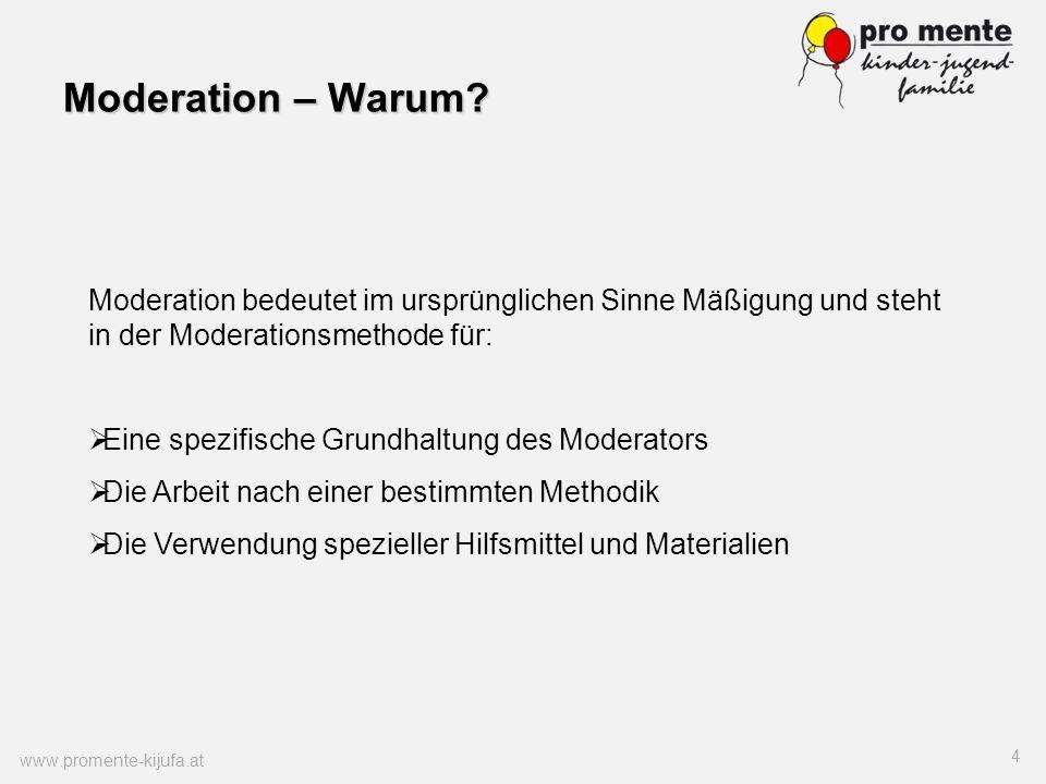Moderation – Warum Moderation bedeutet im ursprünglichen Sinne Mäßigung und steht in der Moderationsmethode für: