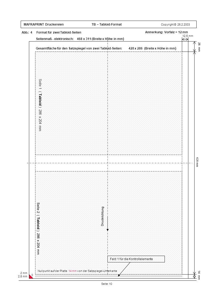 Seite 1 ( Tabloid ) 286 x 204 mm Seite 2 ( Tabloid ) 286 x 204 mm