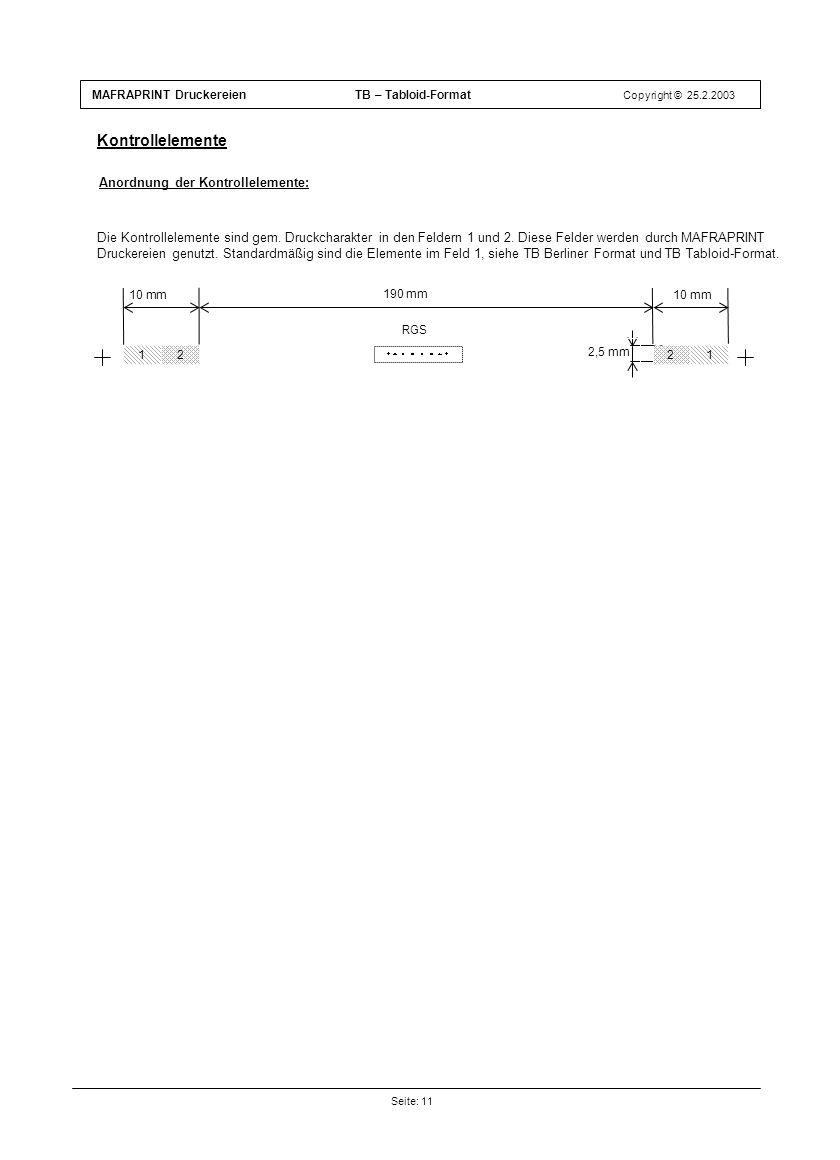 Kontrollelemente Anordnung der Kontrollelemente: