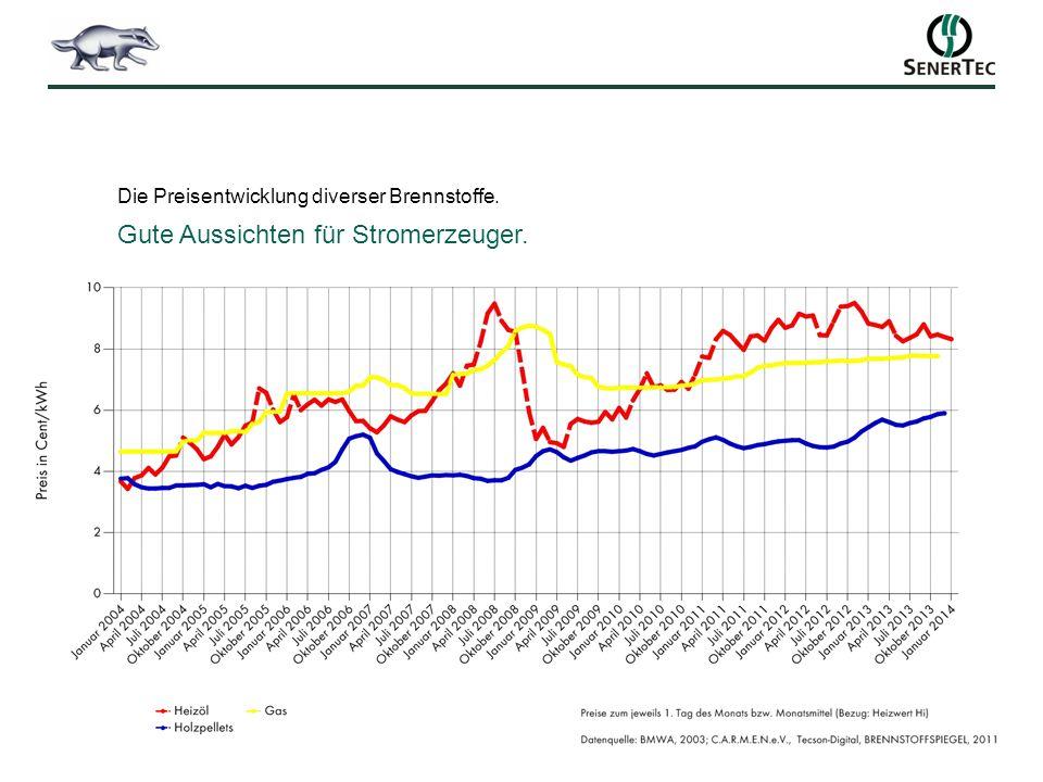 Die Preisentwicklung diverser Brennstoffe