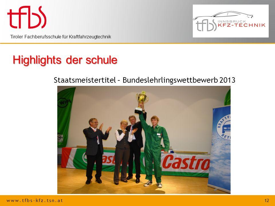 Highlights der schule Staatsmeistertitel – Bundeslehrlingswettbewerb 2013