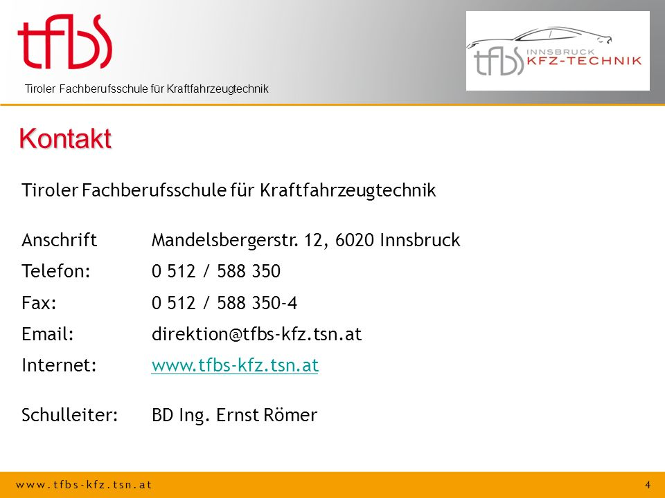 Kontakt Tiroler Fachberufsschule für Kraftfahrzeugtechnik