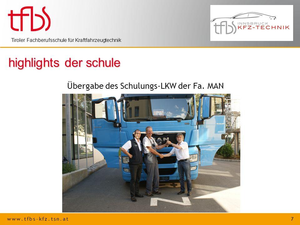 highlights der schule Übergabe des Schulungs-LKW der Fa. MAN