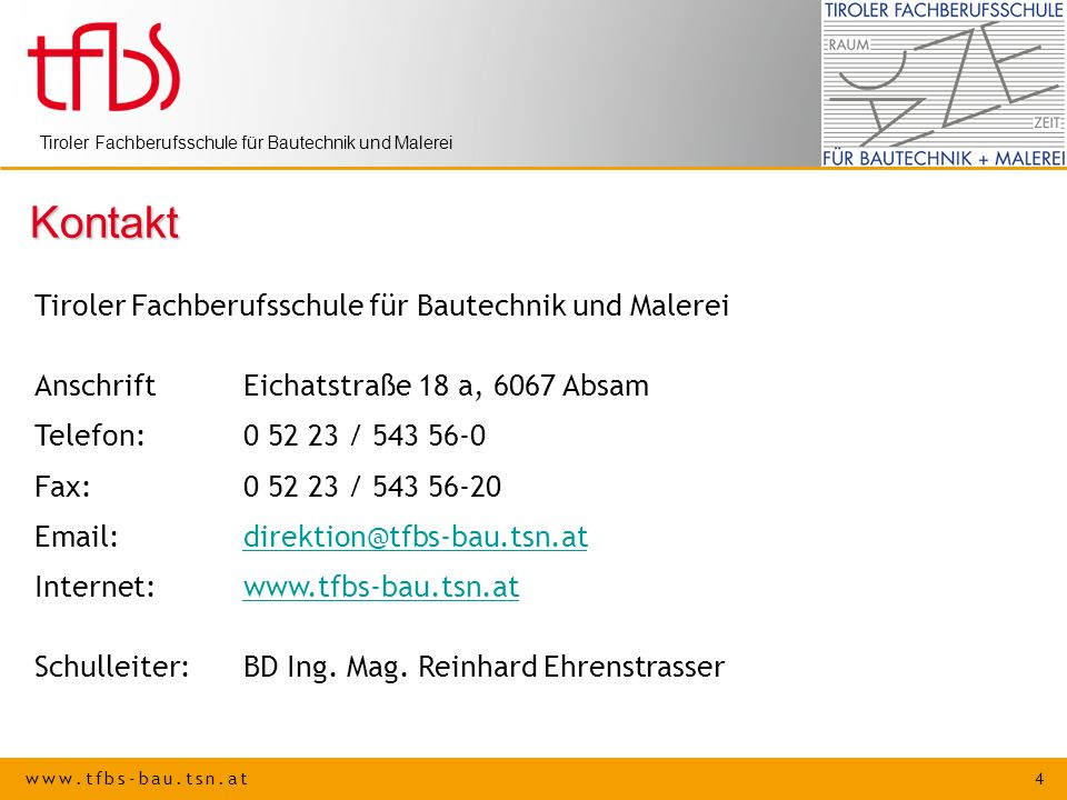 Kontakt Tiroler Fachberufsschule für Bautechnik und Malerei