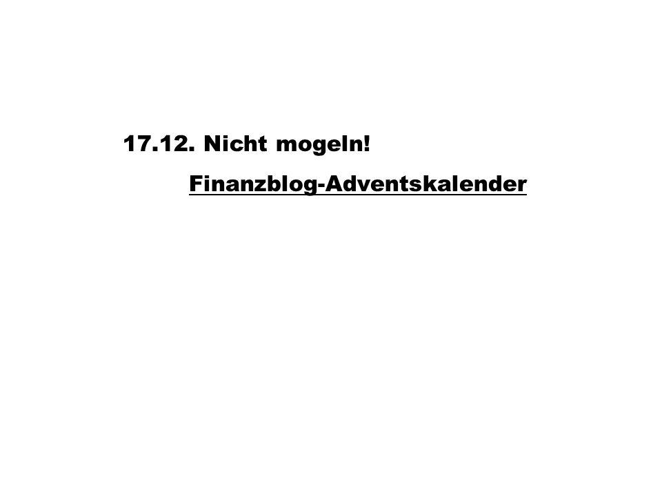 17.12. Nicht mogeln! Finanzblog-Adventskalender