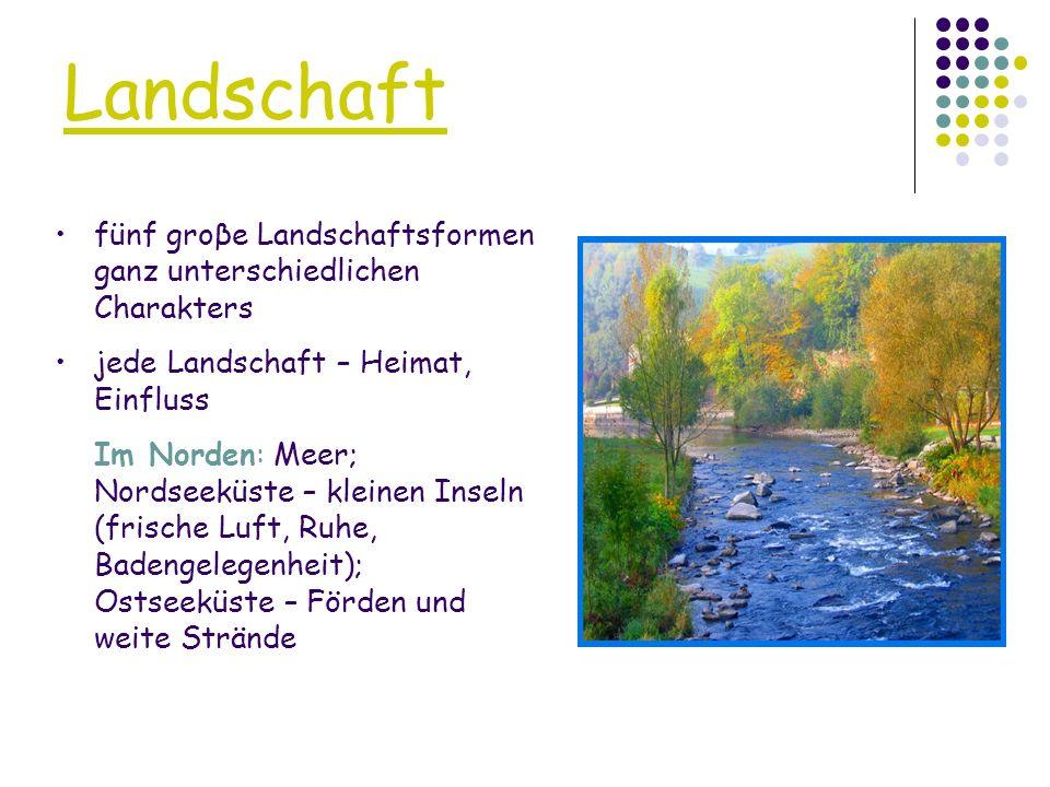 Landschaft fünf groβe Landschaftsformen ganz unterschiedlichen Charakters. jede Landschaft – Heimat, Einfluss.