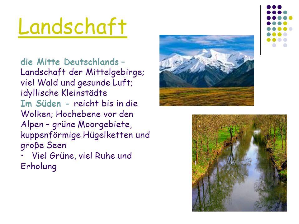 Landschaft die Mitte Deutschlands – Landschaft der Mittelgebirge; viel Wald und gesunde Luft; idyllische Kleinstädte.