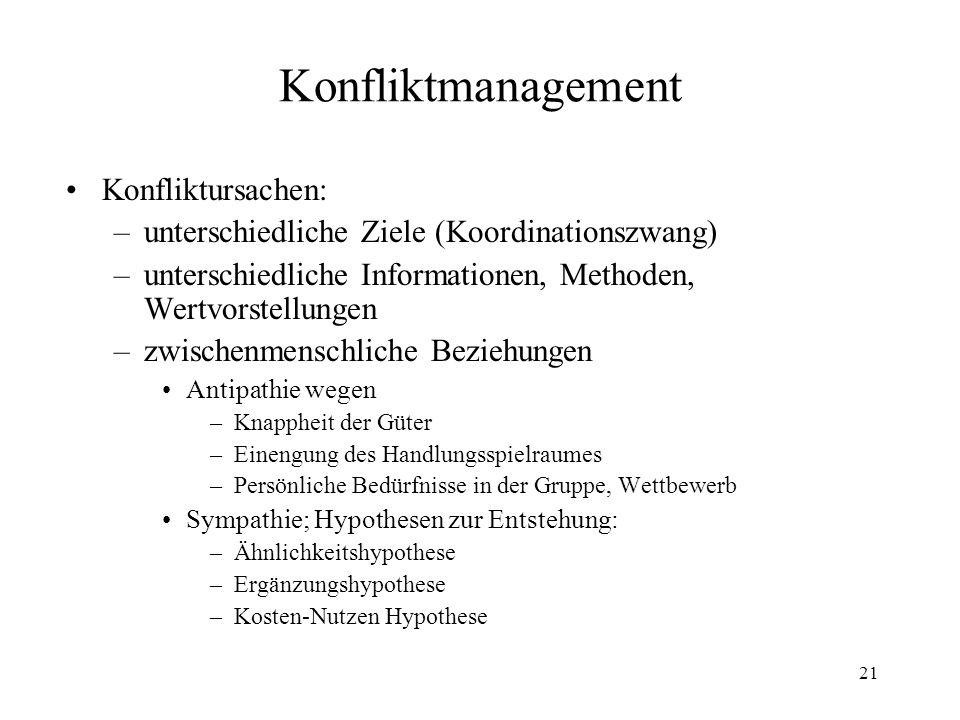 Konfliktmanagement Konfliktursachen: