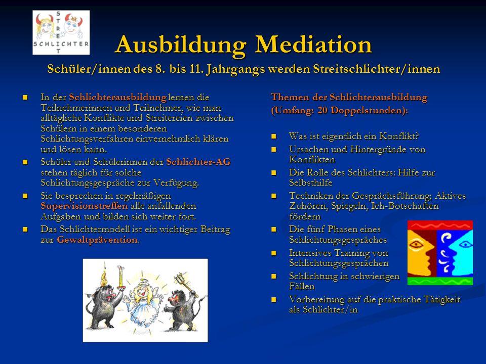 Ausbildung Mediation Schüler/innen des 8. bis 11