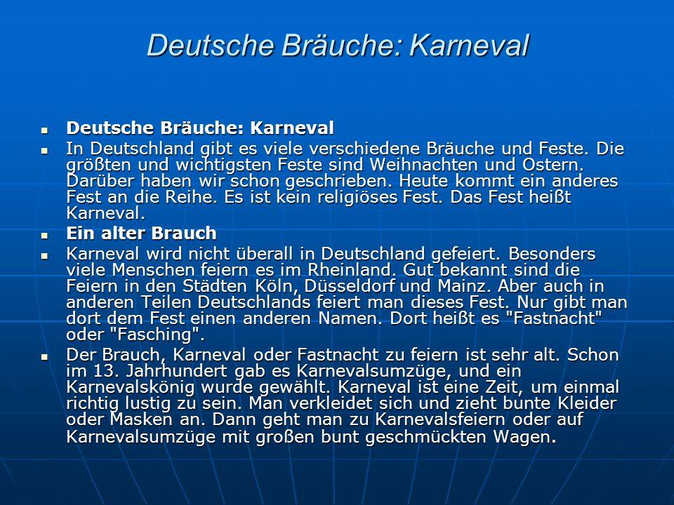 Deutsche Bräuche: Karneval