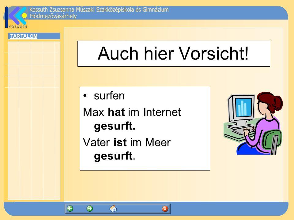 Auch hier Vorsicht! surfen Max hat im Internet gesurft.
