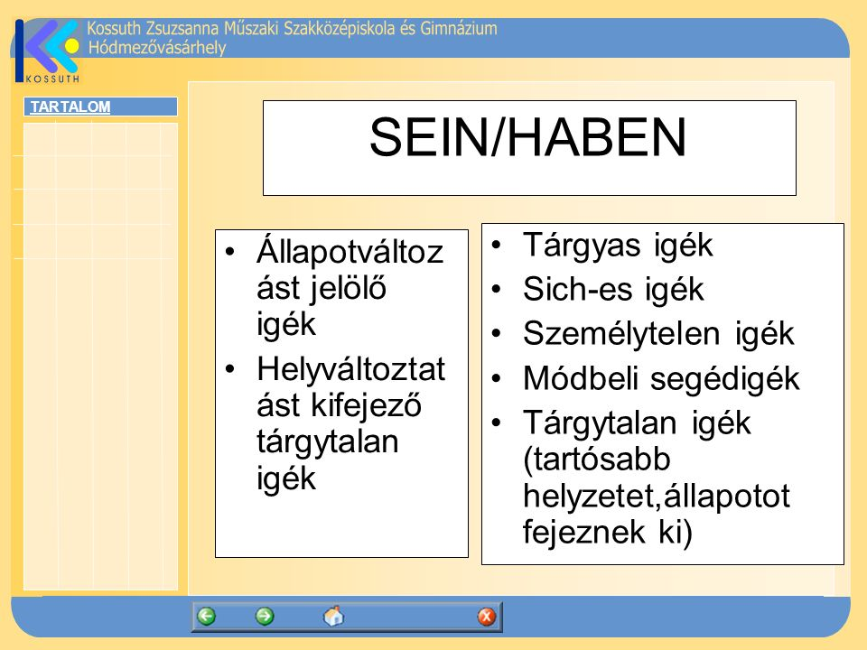 SEIN/HABEN Tárgyas igék Állapotváltozást jelölő igék Sich-es igék