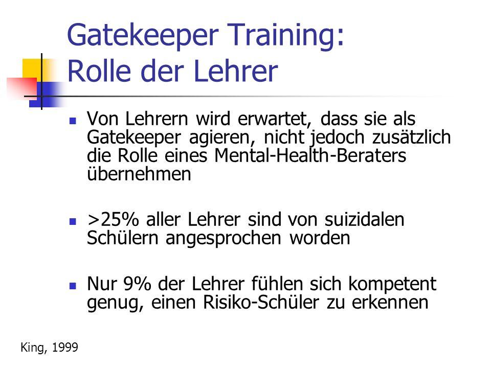 Gatekeeper Training: Rolle der Lehrer